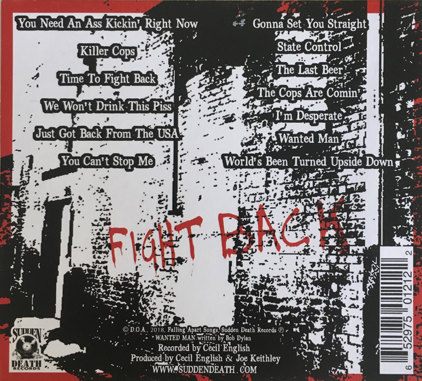 D.O.A. Fight Back CD Front