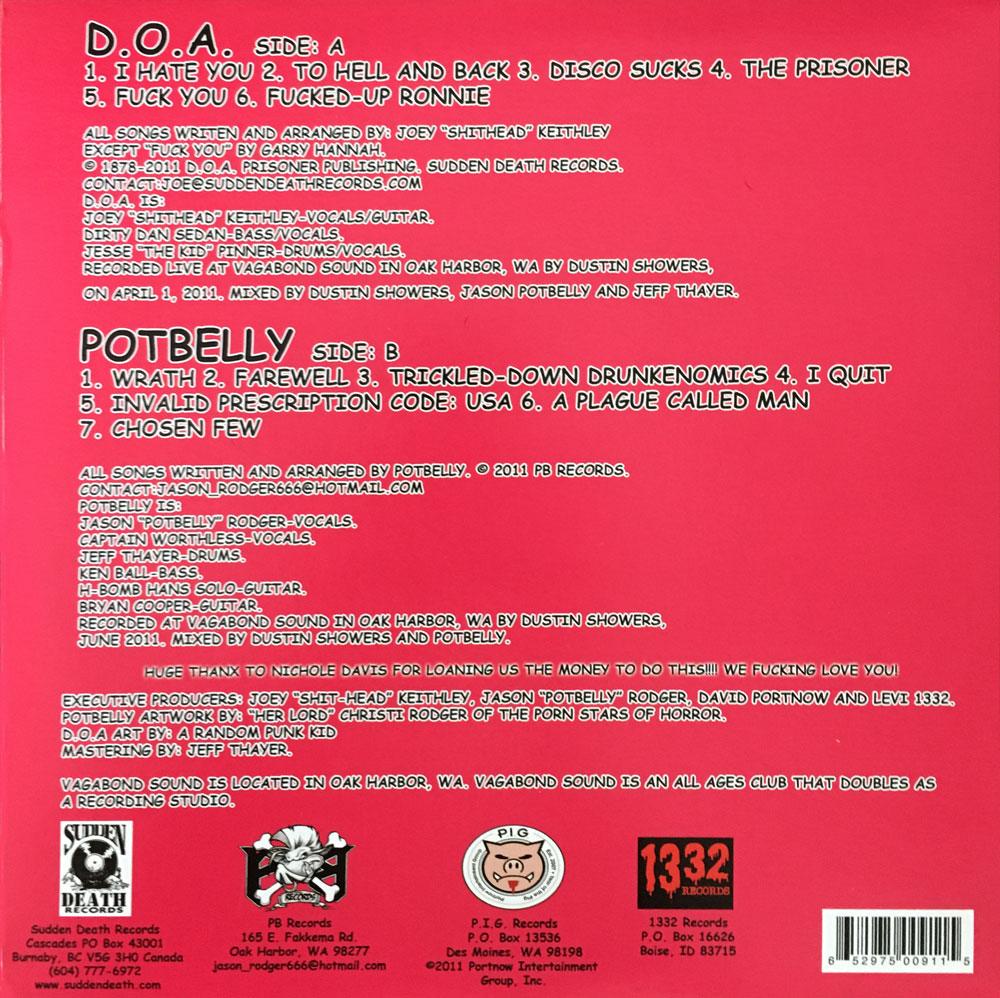 Sudden Death Records Doa Potbelly Vagabond Sessions Lp